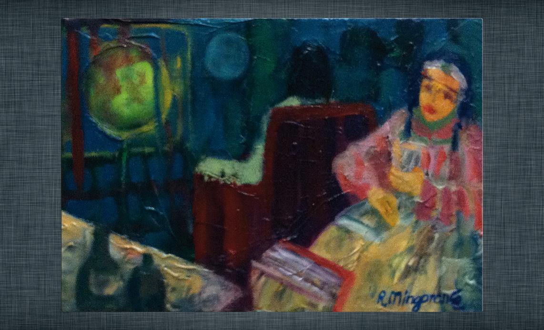 Obra de Guillermo R. Mingorance: «Prefiere la no compañía a ser adiestrada por la televisión» - 27 x 19 cm - óleo/lienzo